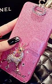 lady®luxurious telefon flip etui til iPhone 6 plus / 6s plus (5,5 tommer), dekoreret med Camellia diamant og tegneserie stil