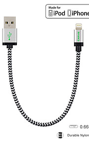 rista mfi 0.6ft / 20cm nylon blixt till USB-kabel för Apple iPhone 6 / 6s / 5 / 5s / 6 plus / iPad Mini