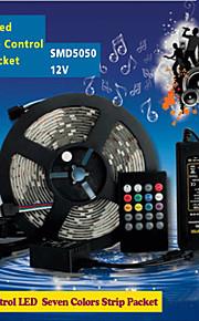 ZDM ™ 5m 150pcs av høy lysstyrke smd5050 ledet 20 taster sju solide farger ledet fjernkontroll RGB strips IP44