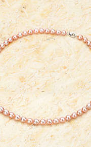 Water Drop Shaped Natural Freshwater Pearl Necklace w/ Lobster Clasp - Pinkish purple (40cm)