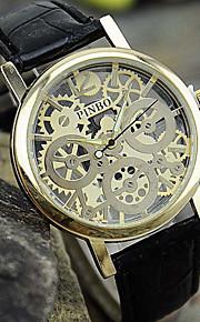 relógio de forma simples lazer couro perfurado quartzo dos homens (cores sortidas)