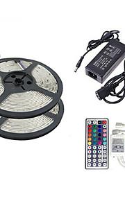 ZDM ™ 2 × 5m 150x5050 SMD RGB LED stripe lys og 44key fjernkontroll og 6a eu oss uk au strømforsyning (ac110-240v)