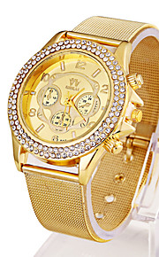 Ladies' Watch The New Hot Three Eye Six Needle Watch Temperament Fashion Exquisite Woven Grid Gold Watch