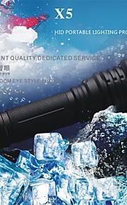 LED懐中電灯 ( 防水 / 耐衝撃性 / 滑り止めグリップ / ストライクベゼル / クリップ / 戦術的な / 緊急 / ナイトビジョン / 自己防衛 / スーパーライト / ハイパワー ) - LED 5 モード 1000 Lumens ルーメン 18650