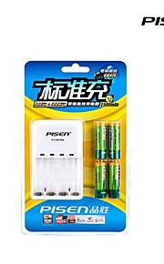 Pisen 4 bay / gleuf aa aaa oplaadbare Ni-MH batterijlader opvouwbare ac stekker met 4 2500mAh AA batterijen