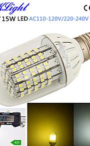 1pcs youoklight® E27 15W 1300lm 138-3528smd 3000K / 6000K בהירות גבוהה&45,000h חיים הארוך הוביל אור ac110-120v / 220-240V