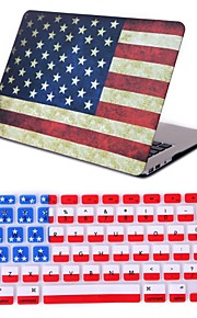 "2 i 1 retro flag fuld hårdt plastik cover + tastatur cover til MacBook Air 11 ""pro 13"" / 15 """