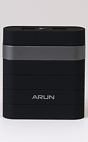 Arun Y304 10000mAh Power Bank with Dual USB Ports Design for Iphone and Others--Black with Silver