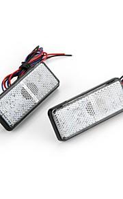 2x bil auto kjøretøy rød firkant bremse stopp baklys lampe pære høy effekt