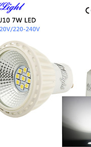 youoklight® 1PCS는 600lm 9-2835smd 6000K 7w 스포트 라이트 ac110-120v / 220V-240V 높은 품질을 주도 GU10&높은 냉각 효율