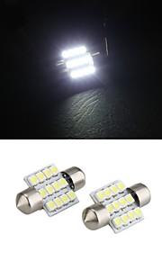 hvit 31mm dome 12 ledet 3528 smd bil interiør pære lys lampe (2 stk)