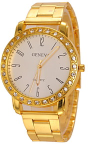 Couple's Diamond Case Gold Alloy Band Quartz Wristwatch