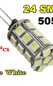 10xg4 3W 24x5050smd varm hvit / hvit lys ledet mais pære (DC 12V)