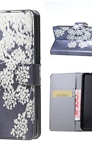 flores blancas patrón de tirón de la carpeta del soporte del cuero con la ranura para tarjeta para el lumia 650 Microsoft