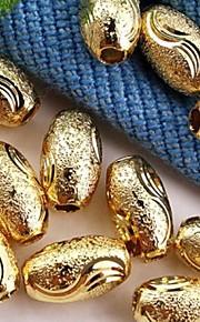 20pcs guld tone metal frosted ovale smykker afstandsstykker perler chic