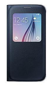 Per Samsung Galaxy S7 Edge Custodie cover Con sportello visore Con chiusura magnetica Integrale Custodia Tinta unita Morbido Similpelle