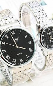 Masculino / Mulheres / Casal Relógio de Moda Quartz Lega Banda Preta / Branco marca-