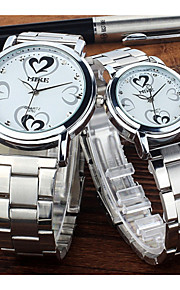 Masculino / Mulheres / Casal Relógio de Moda Quartz Lega Banda Preta / Prata / Rosa marca-