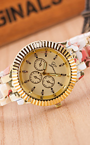 Women European Style Fashion Printed Flowers Golden Wrist Watch Cool Watches Unique Watches
