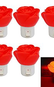 Jiawen 1W steeg 80lm rood vorm geleid klein nachtlampje (5pcs / ac 220v)