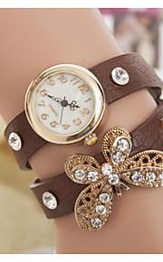 Women's Butterfly Full Diamond Double Ring Winding Bracelet Watch(Assorted Colors)