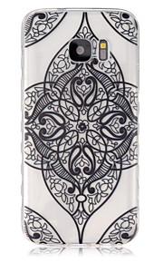 サムスンギャラクシーS7 / S7エッジのための黒い花のコーナーパターンスリップTPU電話ケース