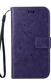 銀河aのストラップ携帯電話とのエンボス加工蝶の財布のスタイル