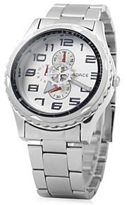 discagem moda banda de aço de prata relógio de quartzo para homens