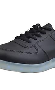 Zapatos de mujer-Tacón Plano-Punta Redonda-Sneakers a la Moda-Exterior / Casual / Deporte-Semicuero-Negro