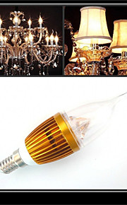 1 stk. HRY E14 3W 3 Høyeffekts-LED 300-350 lm Varm hvit / Kjølig hvit CA35 Dekorativ LED-lysestakepærer AC 220-240 V