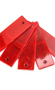 5 Pcs  Plastic Rectangular Stick-on Car Reflector Reflective Sticker Decor