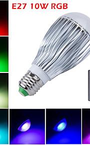 1 stk. HRY E26/E27 10W 10 Høyeffekts-LED 800 lm RGB A60(A19) Dimbar / Fjernstyrt / Dekorativ LED-scenelys AC 85-265 V