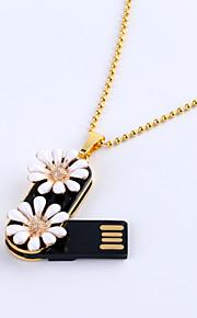 8gb joyas collar de flores de margarita flash USB 2.0 unidad giratoria lápiz de memoria disco de u ZP-02