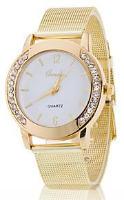 caixa em ouro branco banda de aço inoxidável pulso relógio da jóia vestido da forma da senhora