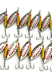 Hengjia 10pcs Deluxe Quality Spoon Metal Fishing Lures 70mm 9.9g Spinner Baits Random Colors