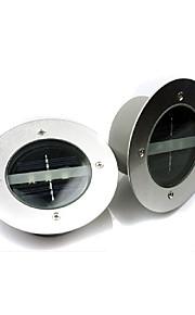 2pcs / lot runde forstår ledet solenergi lampe lyskontroll 3 leds 3000K og 6000K
