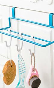 jern art køkken låge typen dobbelt pole håndklædeholder ikke-trace klud hængende rack tilfældig farve