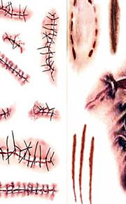 terror sår naturtro blod mønster plast ar tatovering klistermærker hvid brun