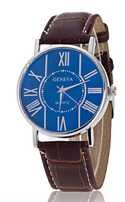 Men's Wrist watch Geneva Men PU Band Quartz Watch Roman Scale(Assorted Colors)