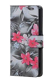 flor roja magnética de la PU de la carpeta de cuero del soporte del tirón de la cubierta del caso Lenny wiko 3