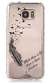 Feather Pattern Slip TPU Phone Case For Samsung Galaxy S7/S7 edge