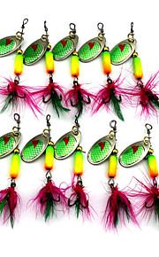 Hengjia 10pcs Spoon Metal Fishing Lures 63mm 3.5g Spinner Baits Random Colors
