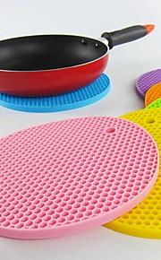 18cm Round Silicone Non-slip Heat Resistant Mat Coaster Cushion Placemat Pot Holder(Random color)
