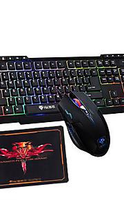 arco-íris retroiluminado jogos multimedia rato para jogos 2400dpi teclado USB e um bloco 3 peças de um conjunto