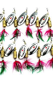 Hengjia 10pcs Spoon Metal Fishing Lures 75mm 10g Spinner Baits Random Colors