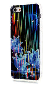 Luxury Brushed TPU Blue Flowers Pattern Phone Shell Drop Resistance for iPhone SE/5/5S