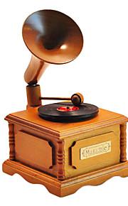 criativa caixa de madeira amarela / marrom música romântica para o presente