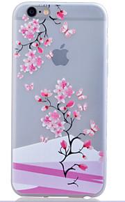 TPU lyser i mörkret genomskinliga plommon blomma lättnad mjukt skydd ringer fallet för iphone 6 / 6s / 6 plus / 6s plus