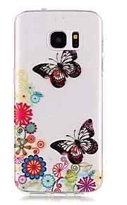 TPU de alta pureza a céu aberto translúcida padrão de borboleta caixa do telefone macio para Galaxy S5 / S6 / S6 edge / S7 / S7 borda
