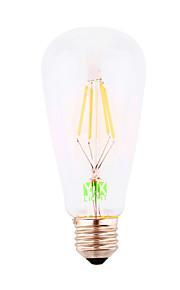 4W E26/E27 LED필라멘트 전구 ST64 4 COB 300-400 lm 차가운 화이트 장식 AC 220-240 V 1개